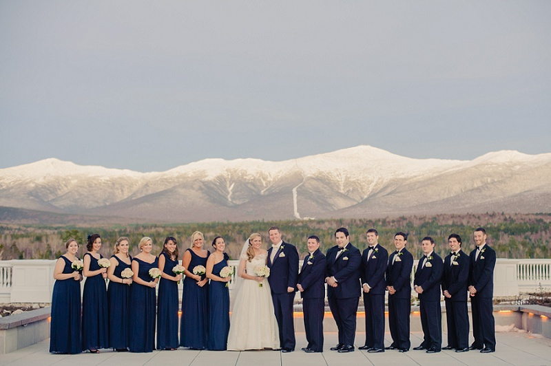 Winter wedding Party on the deck of Mount Washington Hotel