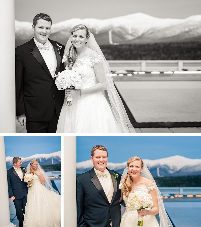 Bride and groom at the Mount Washington Hotel Winter
