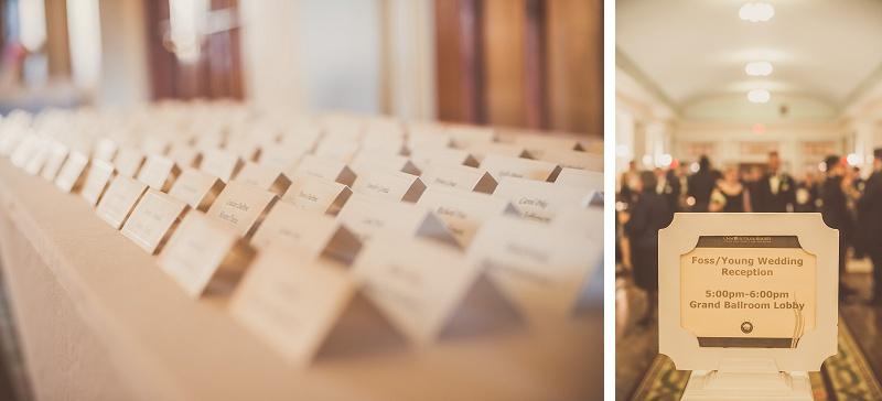 Winter wedding reception place cards Mount Washington Hotel