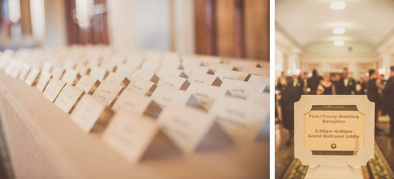 Winter wedding reception place cards Mount Washington Hotel