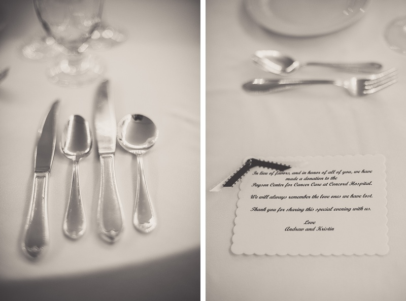 Winter wedding reception details at Mount Washington Hotel