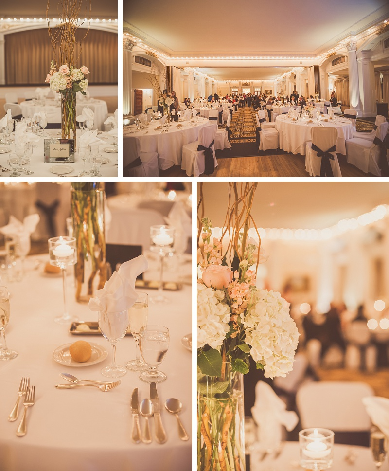 Beautiful winter wedding reception details at Mount Washington Hotel Ballroom