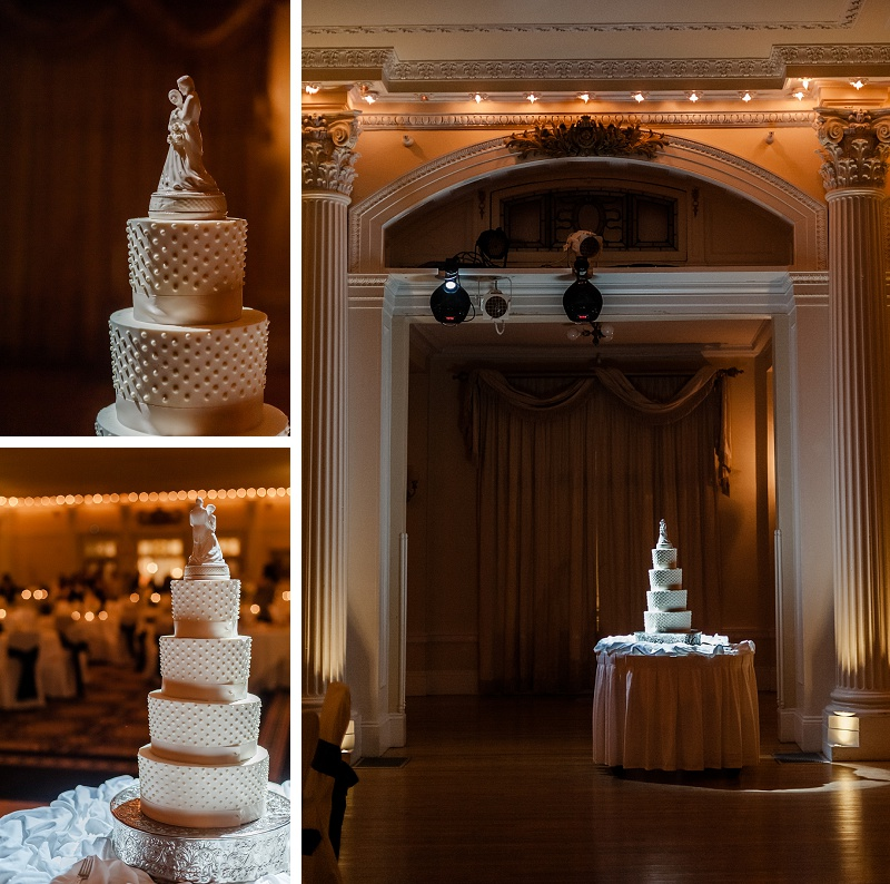 Winter Wedding cake at reception at Mount Washington Hotel