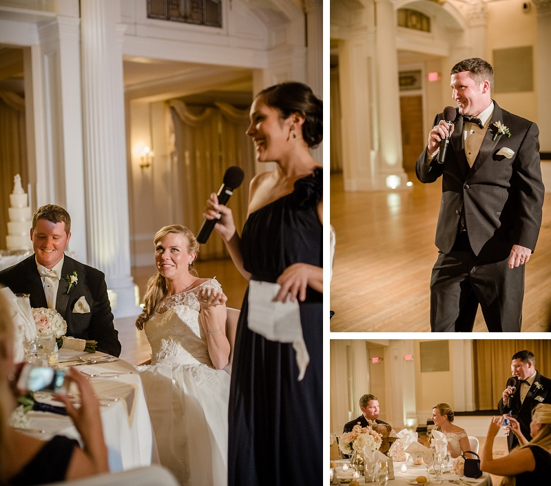 Speeches at Winter Wedding Reception Mount Washington Hotel Ballroom