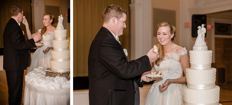 Bride and Groom Cut the Cake Mount Washington Hotel Ballroom