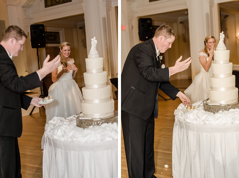 Bride and Groom Cut the Cake Mount Washington Hotel