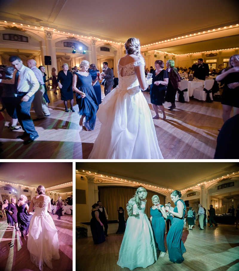 Winter wedding reception dancing Mount Washington Hotel