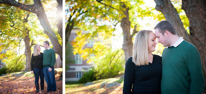 Autumn engagement photos at UNH campus