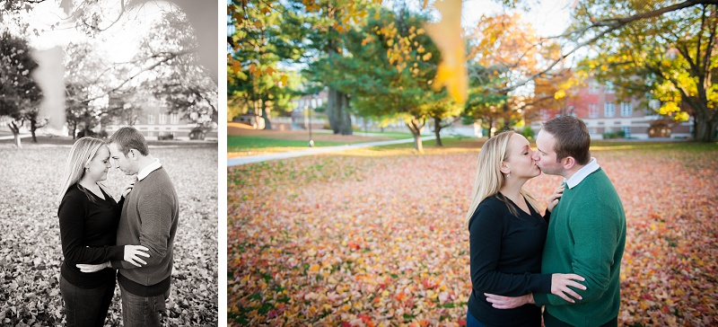Engaged couple surrounded by colorful autumn leaves at UNH main campus