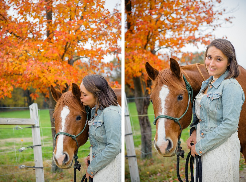 Female senior portrait with horse in front of beautiful foliage