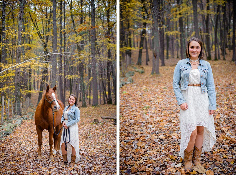 Beautiful senior portrait with horse and fall leaves