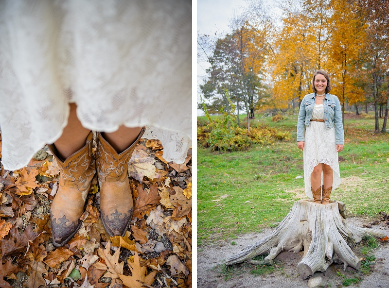 Cowgirl boots and girl standing in a tree stump