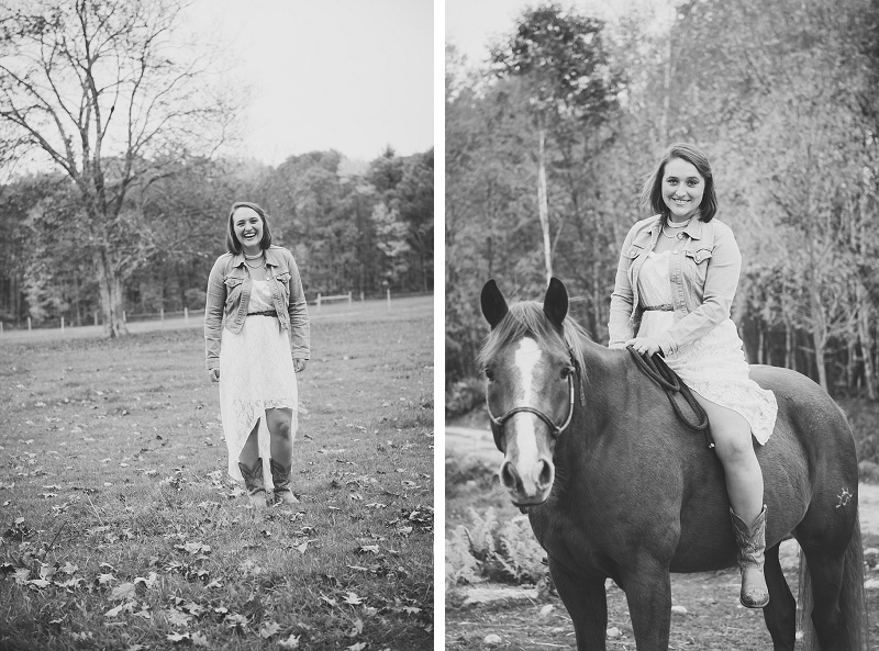Female senior portrait with horse black and white