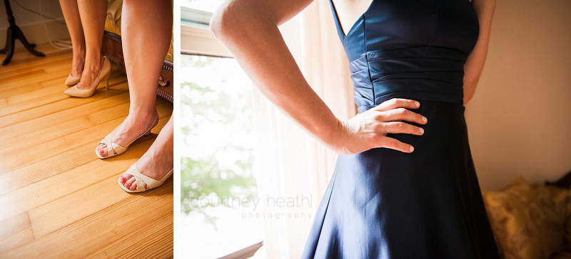 Bridesmaid feet and hand on hip