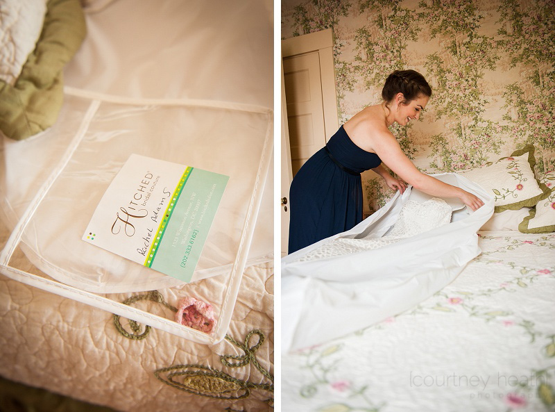 Maid of honor taking wedding dress out of the bag