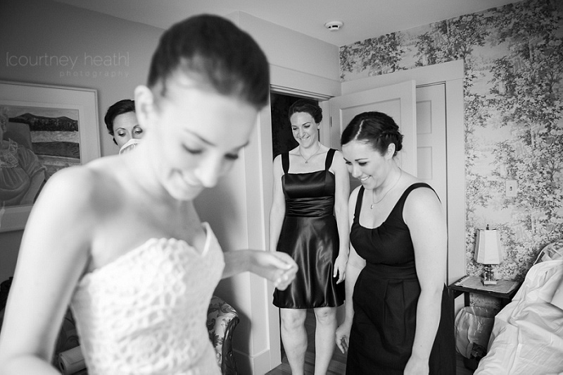 Smiling bride and bridesmaids candid