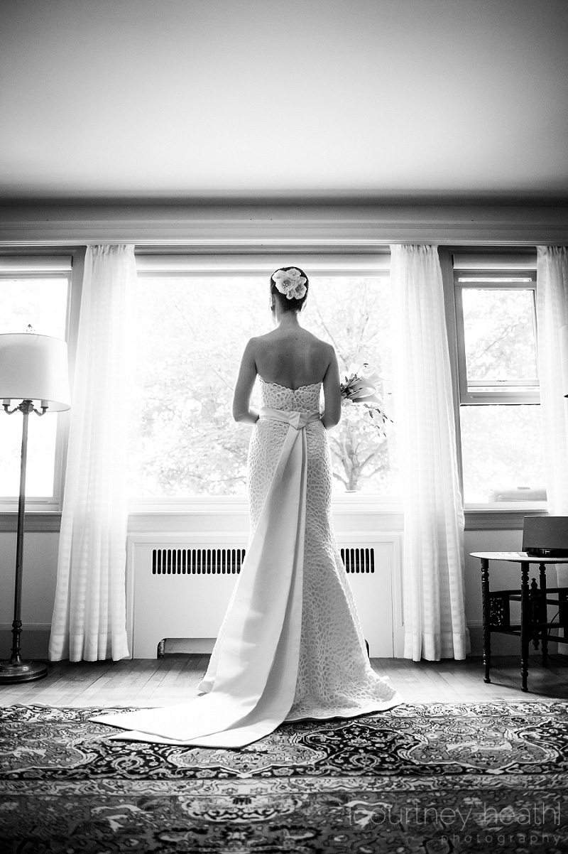 Full length bride standing in window
