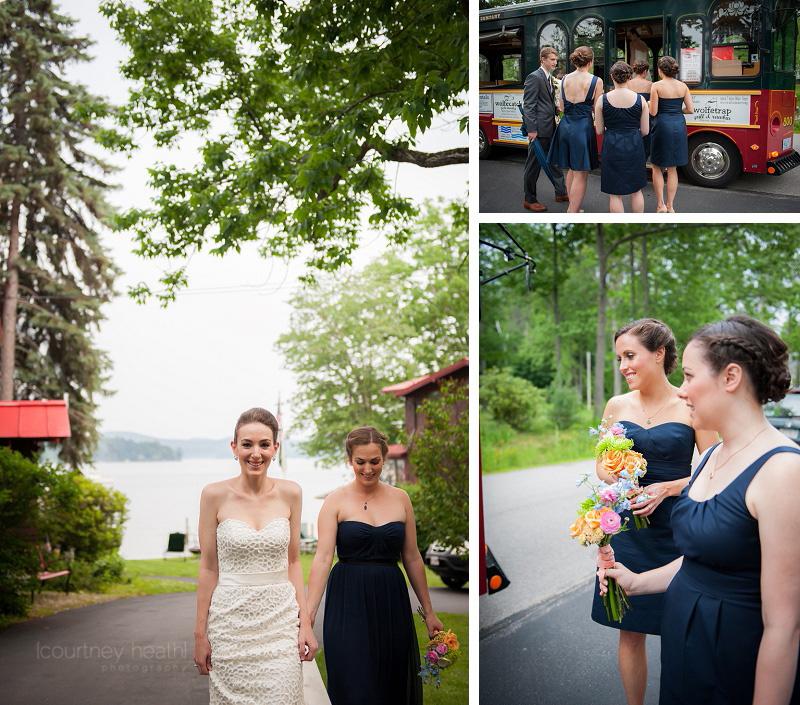 Bride walking to trolley
