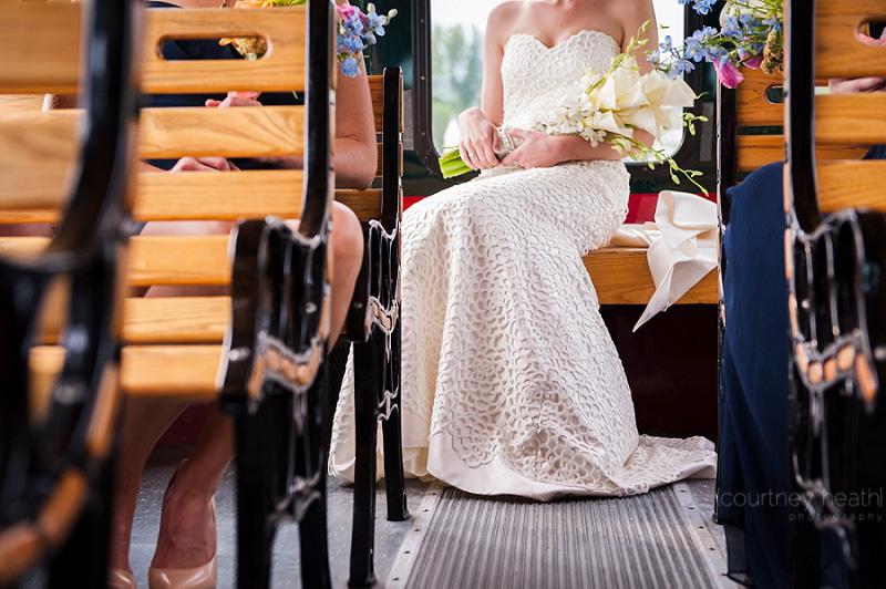 Bottom half of bride's dress sitting on trolley