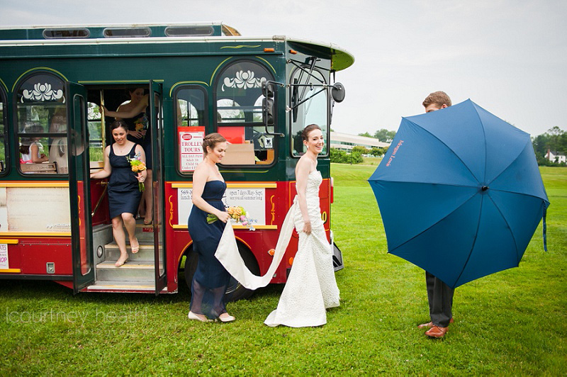 Bride being covered by an umbrella