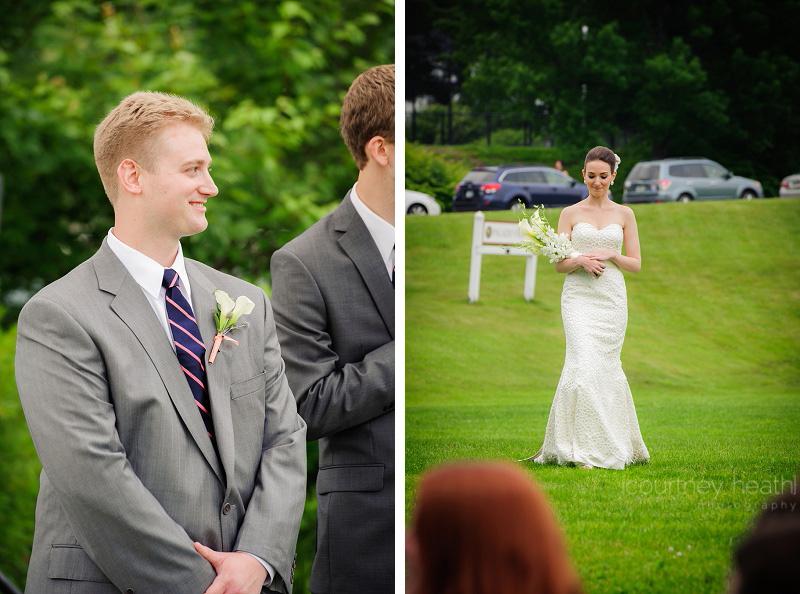 Groom smiling as bride walks down the aisle