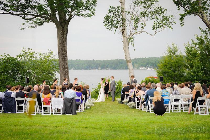 Wide angle view of wedding ceremony on Lake Winnipesaukee