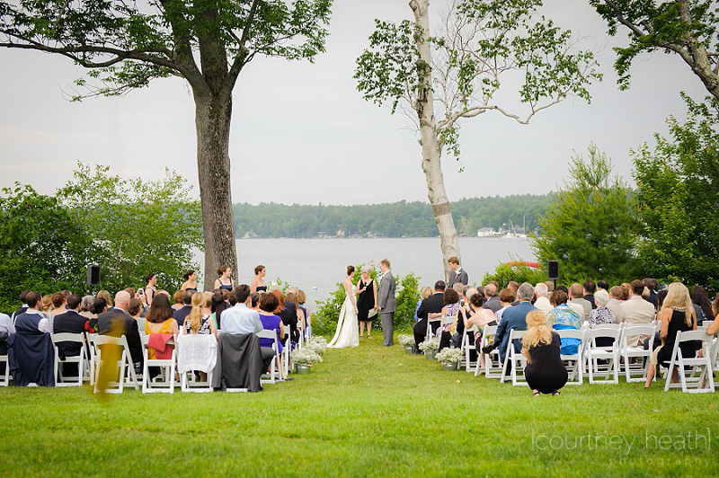 Wide angle view of wedding ceremony on Lake Winnipesaukee