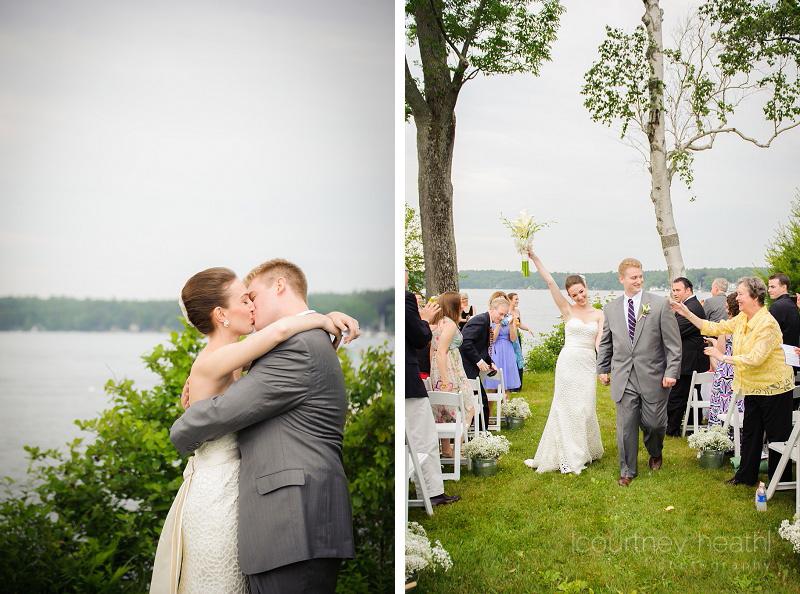 Bride and groom first kiss Lake Winnipesaukee