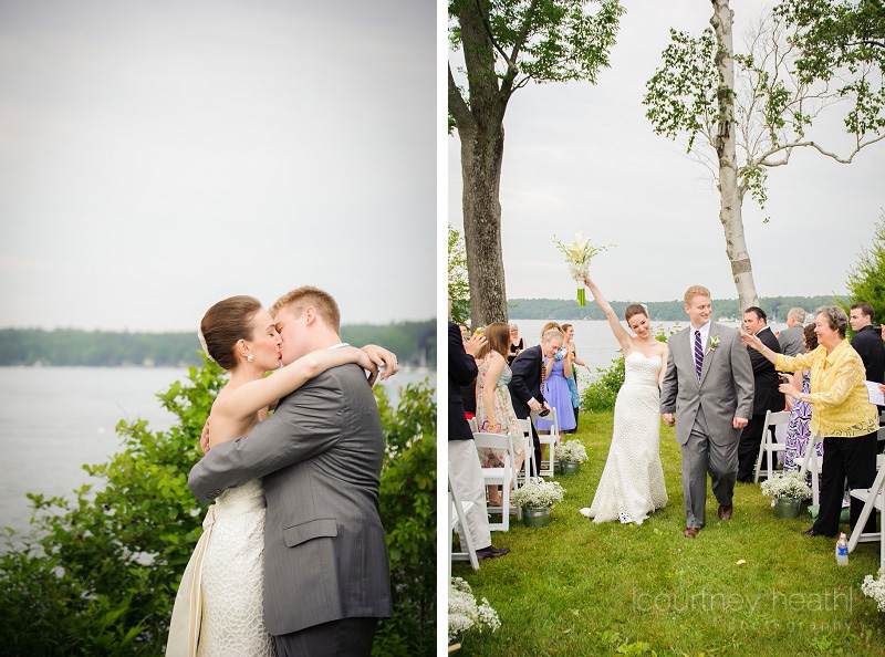 Bride and groom first kiss Lake Winnipesaukee