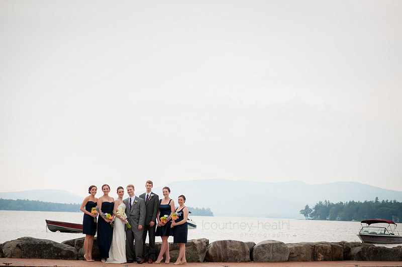 Wedding party on docks at Brewster Academy