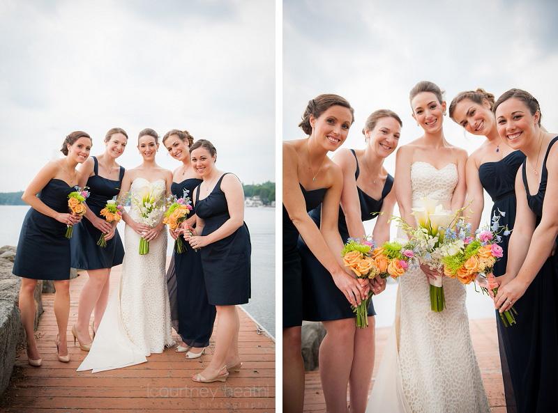 Bride and bridesmaids at Lake Winnipesaukee