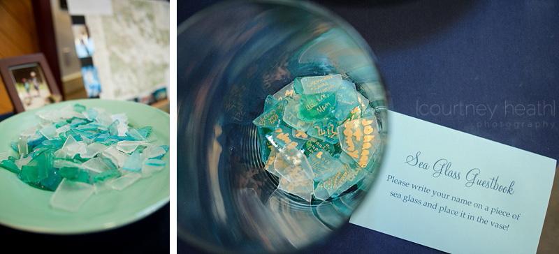 Sea glass wedding guest book