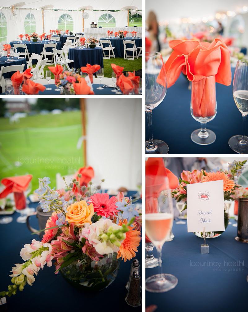 Wedding Reception Details Orange and Blue