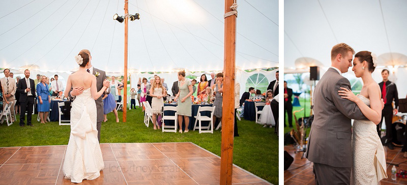 Groom and bride first dance under tent