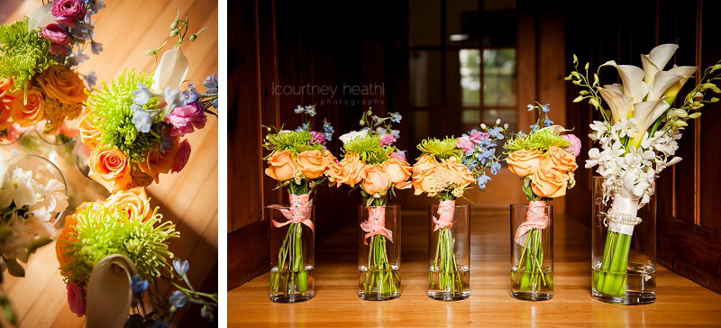 Calla lily's and bright bridesmaid bouquets