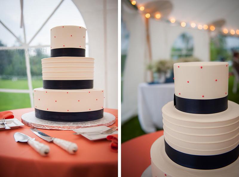 Polka dot wedding cake details