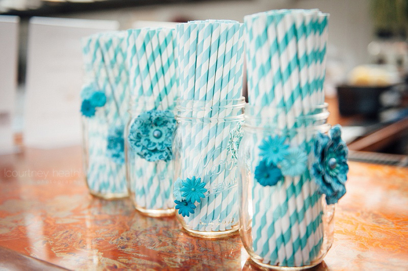 Blue Striped Straws in Mason Jars