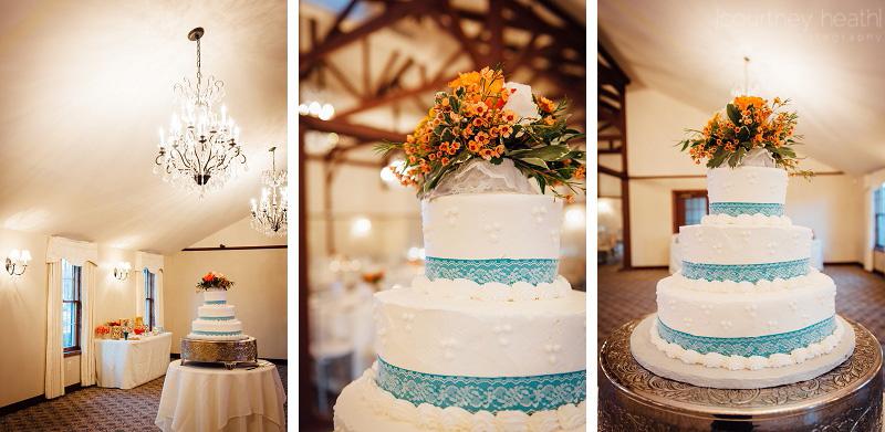 Blue and white tiered wedding cake Farmington Gardens