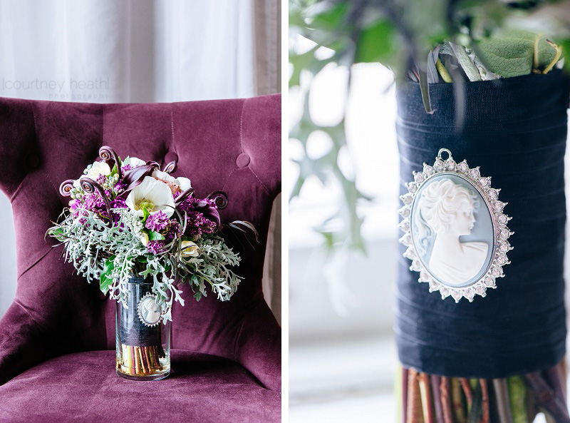 bride's bouquet sitting in a purple chair