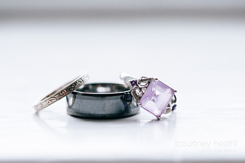 wedding rings and purple engagement ring