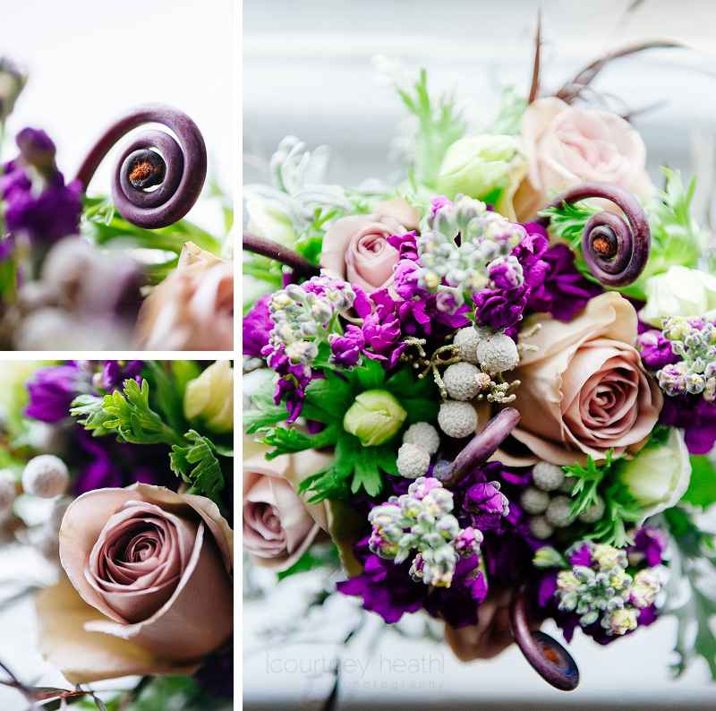 vivid purple and green wedding bouquet