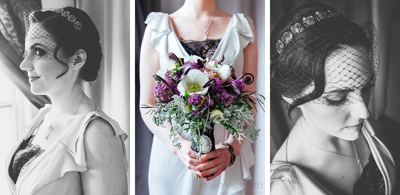 vintage bride wearing birdcage veil