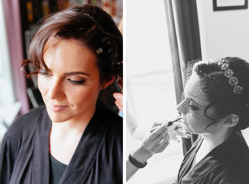 beautiful bride getting her makeup done