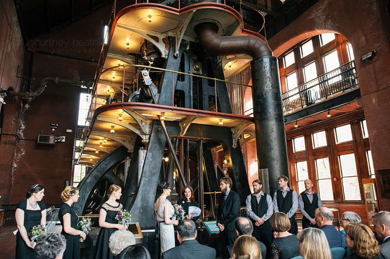 Wide angle photo of vintage wedding ceremony at Boston Waterworks Museum