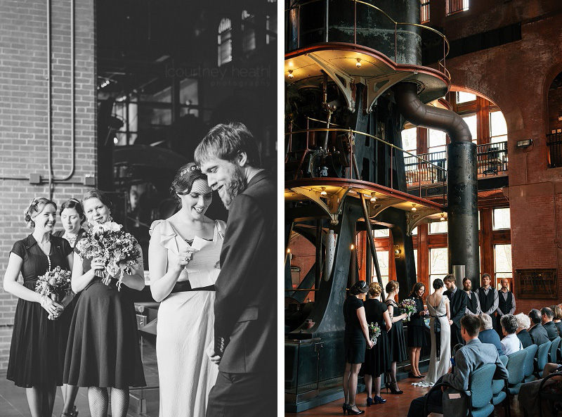 Bride reading vows to laughing groom at Waterworks Museum Boston