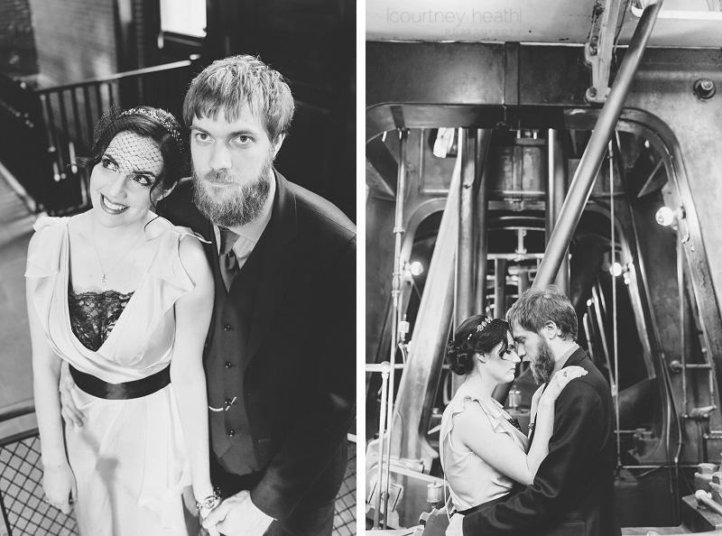 Vintage bride and groom black and white Waterworks Museum
