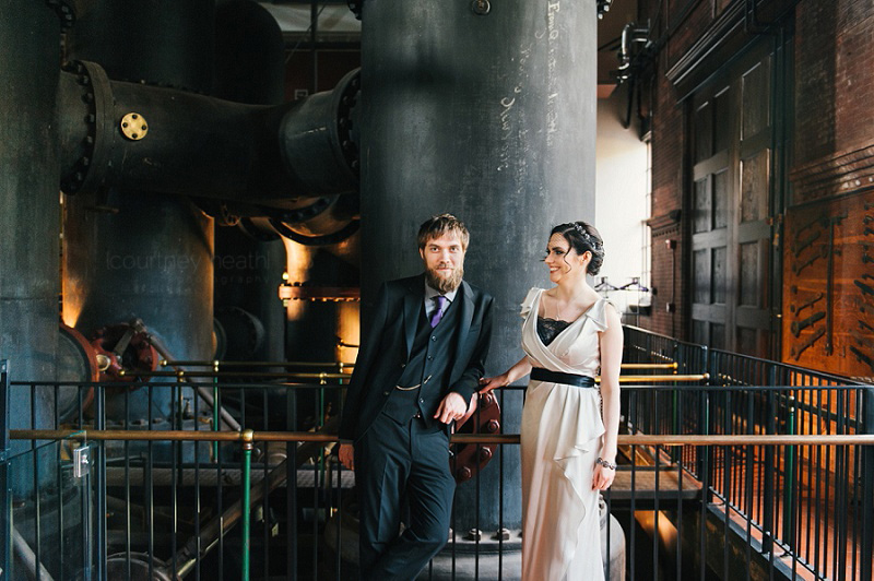 Vintage bride and groom at Waterworks Museum Boston