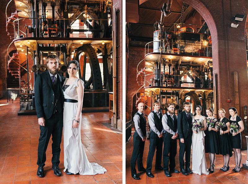 vintage wedding party at Waterworks Museum Boston