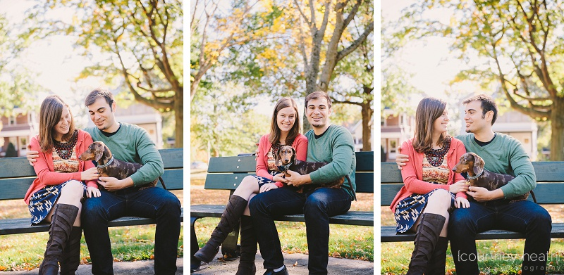 engaged couple sitting on park bench with dog
