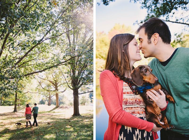 engaged couple walking with dog
